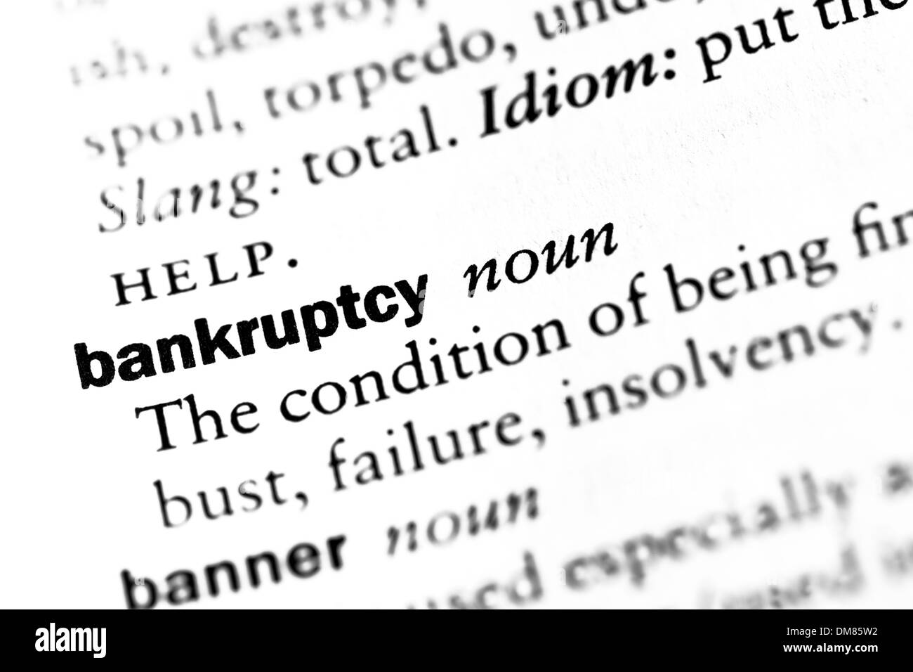 Dictionary definition of 'Bankruptcy' - Stock Image