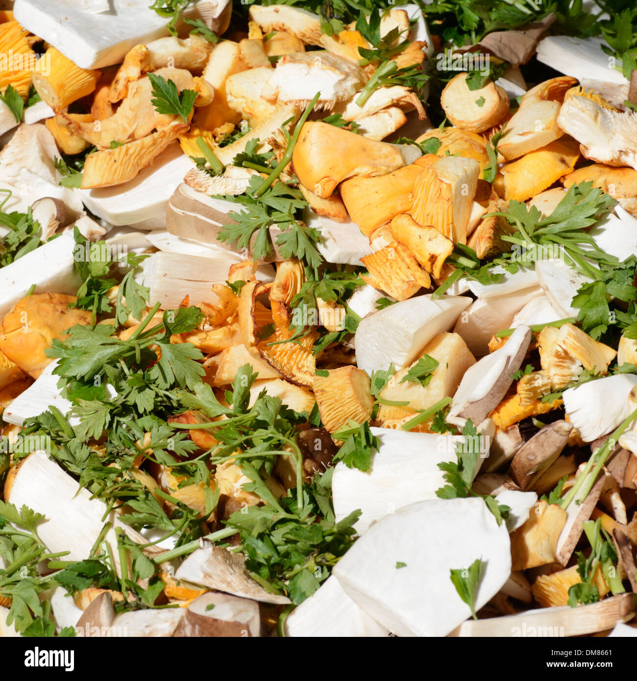 Various sliced mushrooms with parlsey and other herbage sold at the market - Stock Image