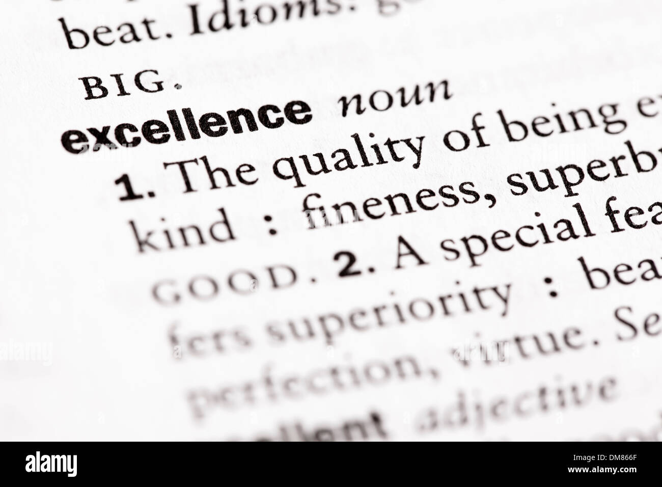 Dictionary definition of 'Excellence' - Stock Image