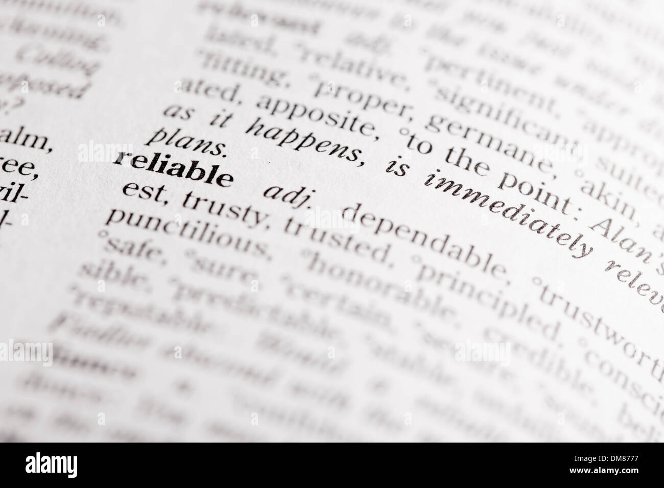 Dictionary definition of 'Reliable' - Stock Image