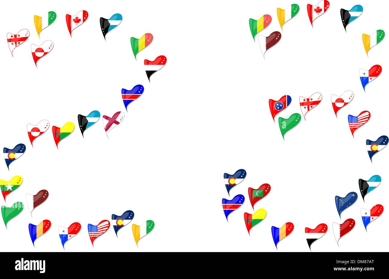 world country flag heart Number 2 3 - Stock Vector