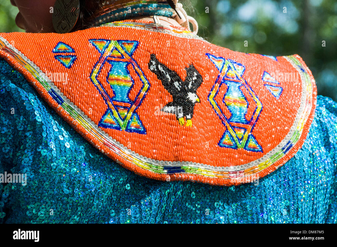 Details of woman traditional Clothing Mohawk people First Nations Quebec Canada - Stock Image