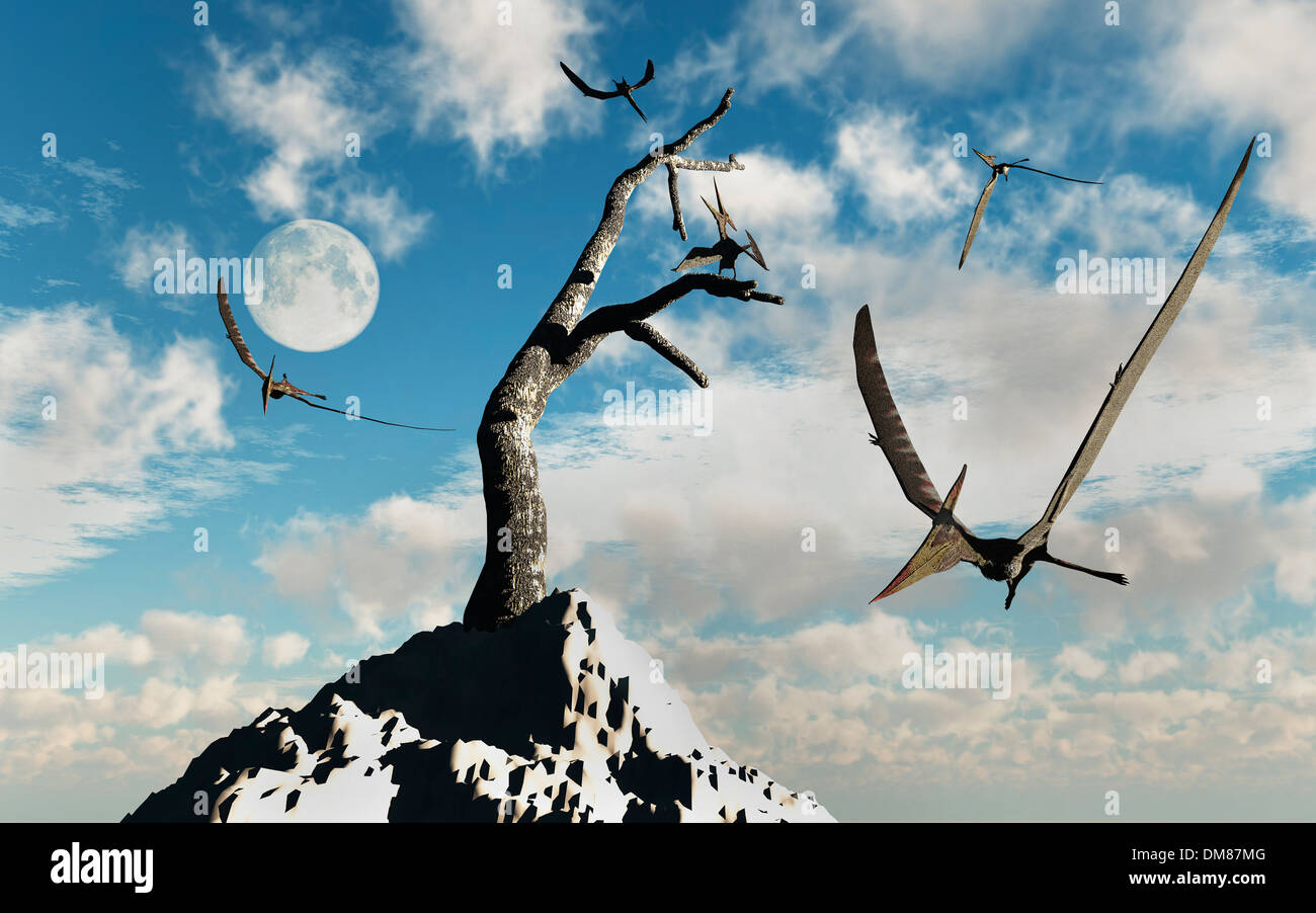 A Flock Of Pteranodons.1 Stock Photo