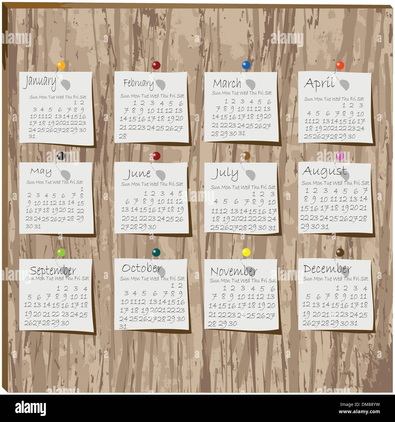 Calendar paper on wood - Stock Image