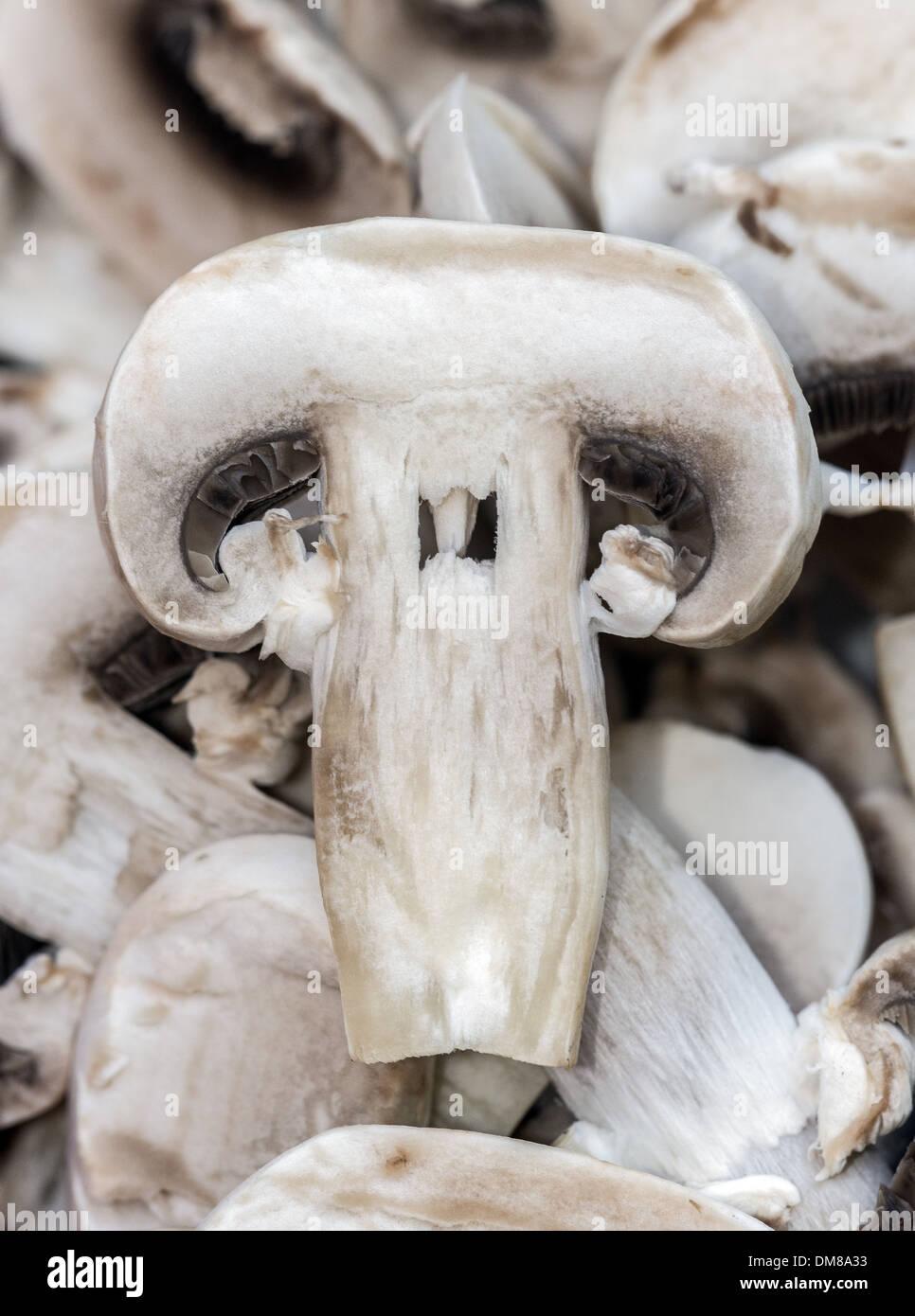 Sliced mushrooms - Stock Image