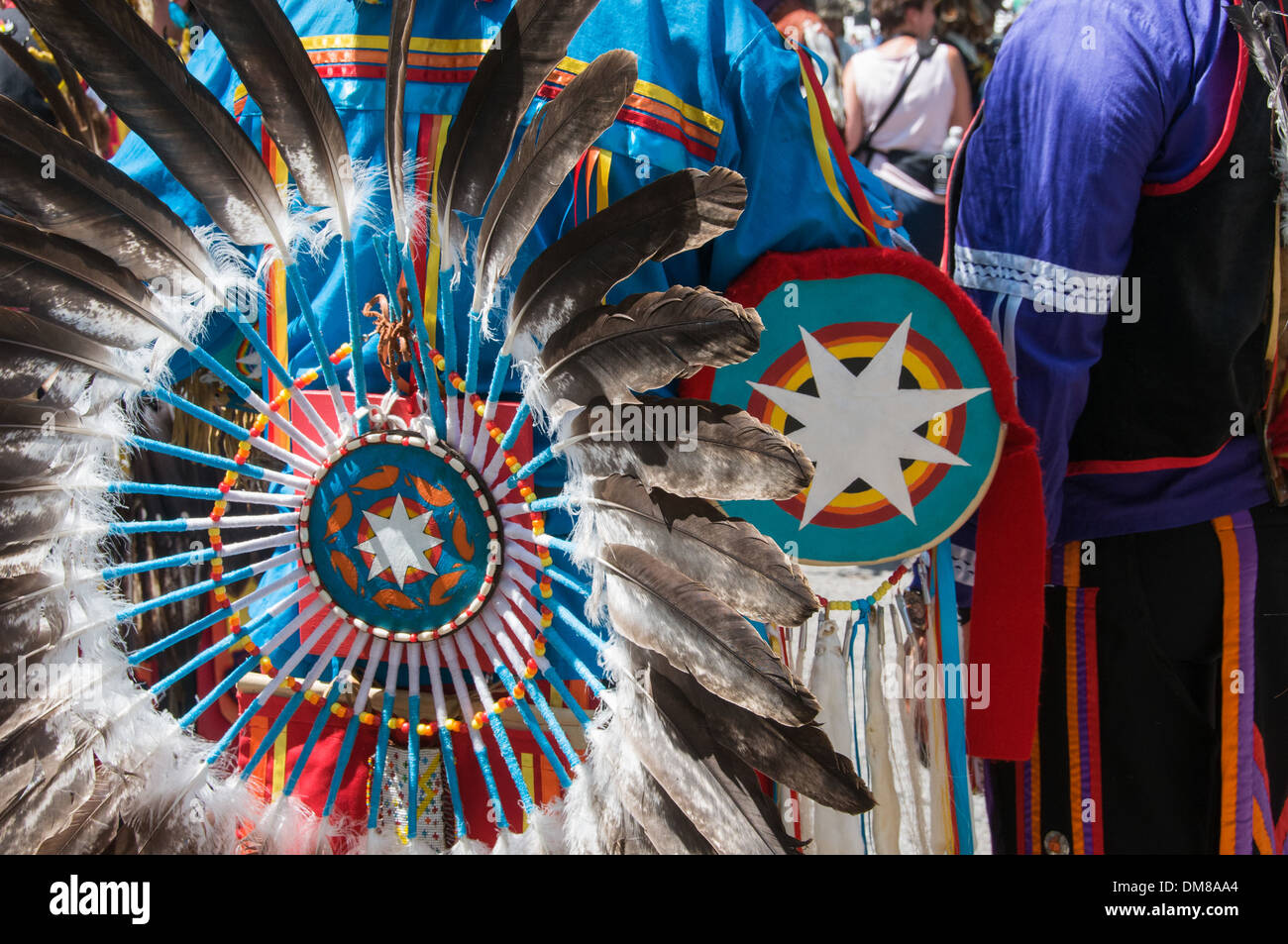 Native First Nations Dancers with Traditional Regalia Kahnawake Quebec - Stock Image