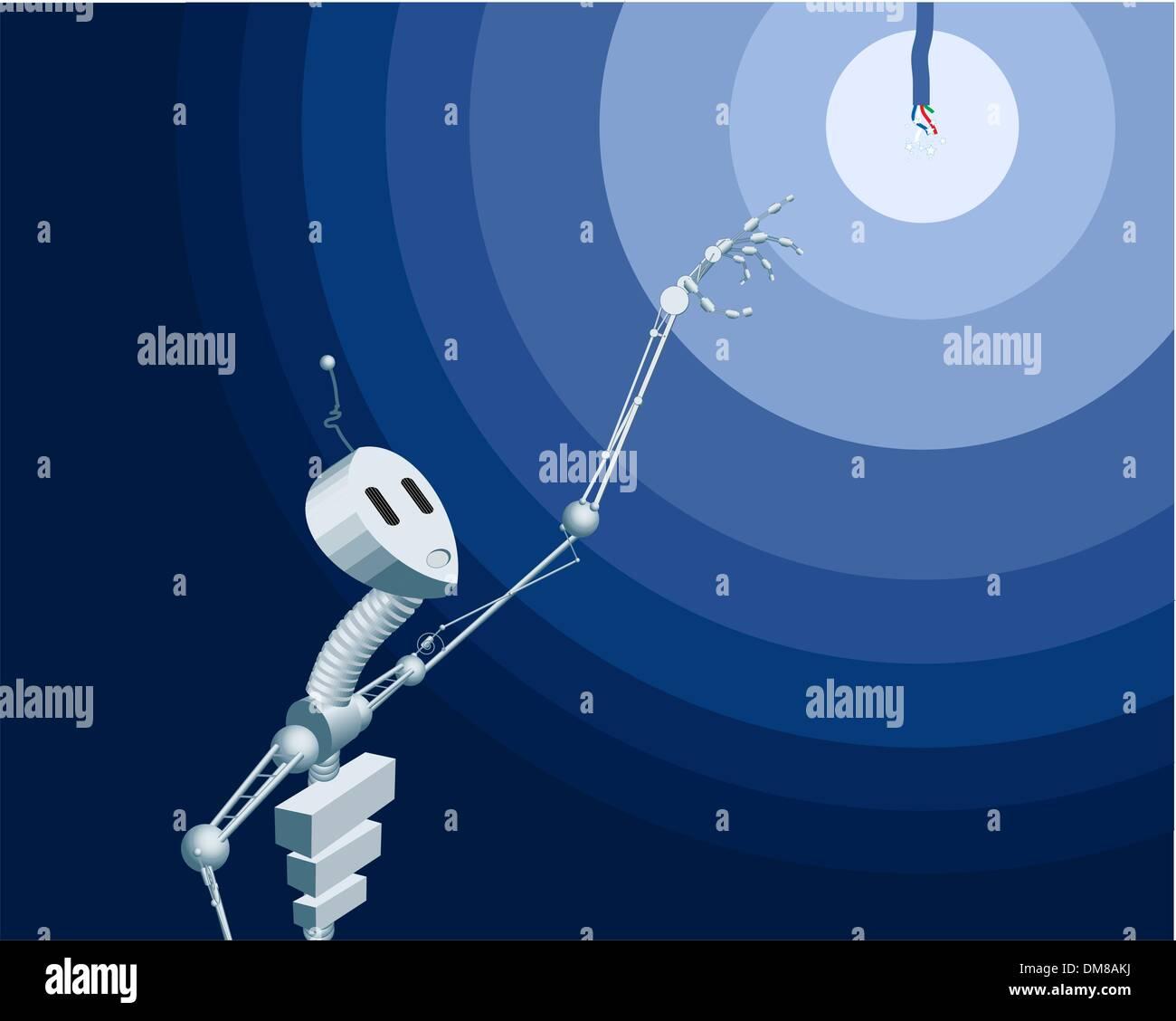 Robot interested in light - Stock Image