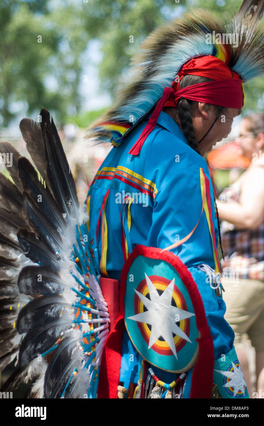 The proud Mohawk nation living in Kahnawake native community located on the south shore of St Lawrence river in Quebec Canada - Stock Image