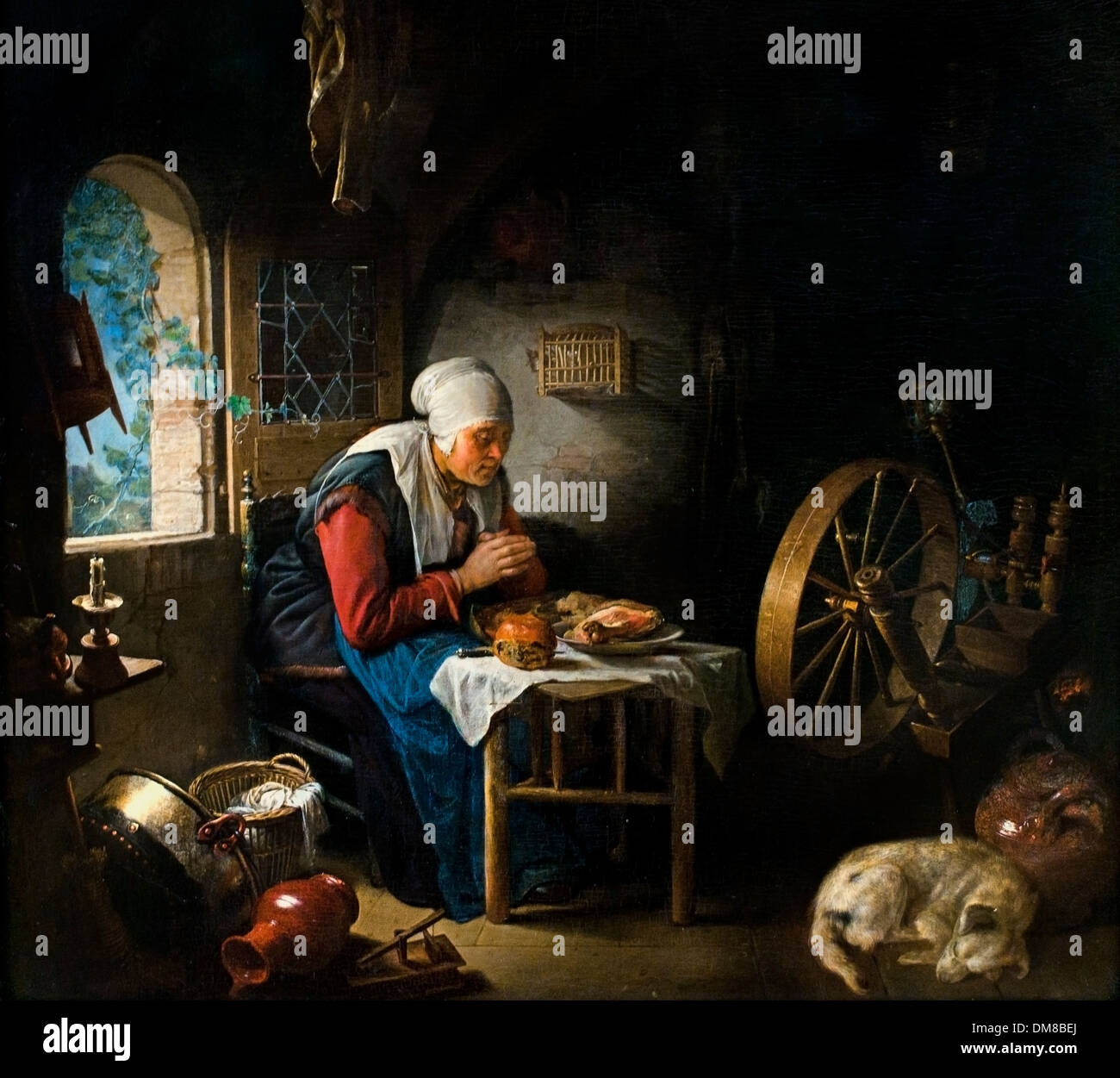 The Prayer of the Spinner Gerrit Dou (1613–1675)  Dutch Netherlands - Stock Image