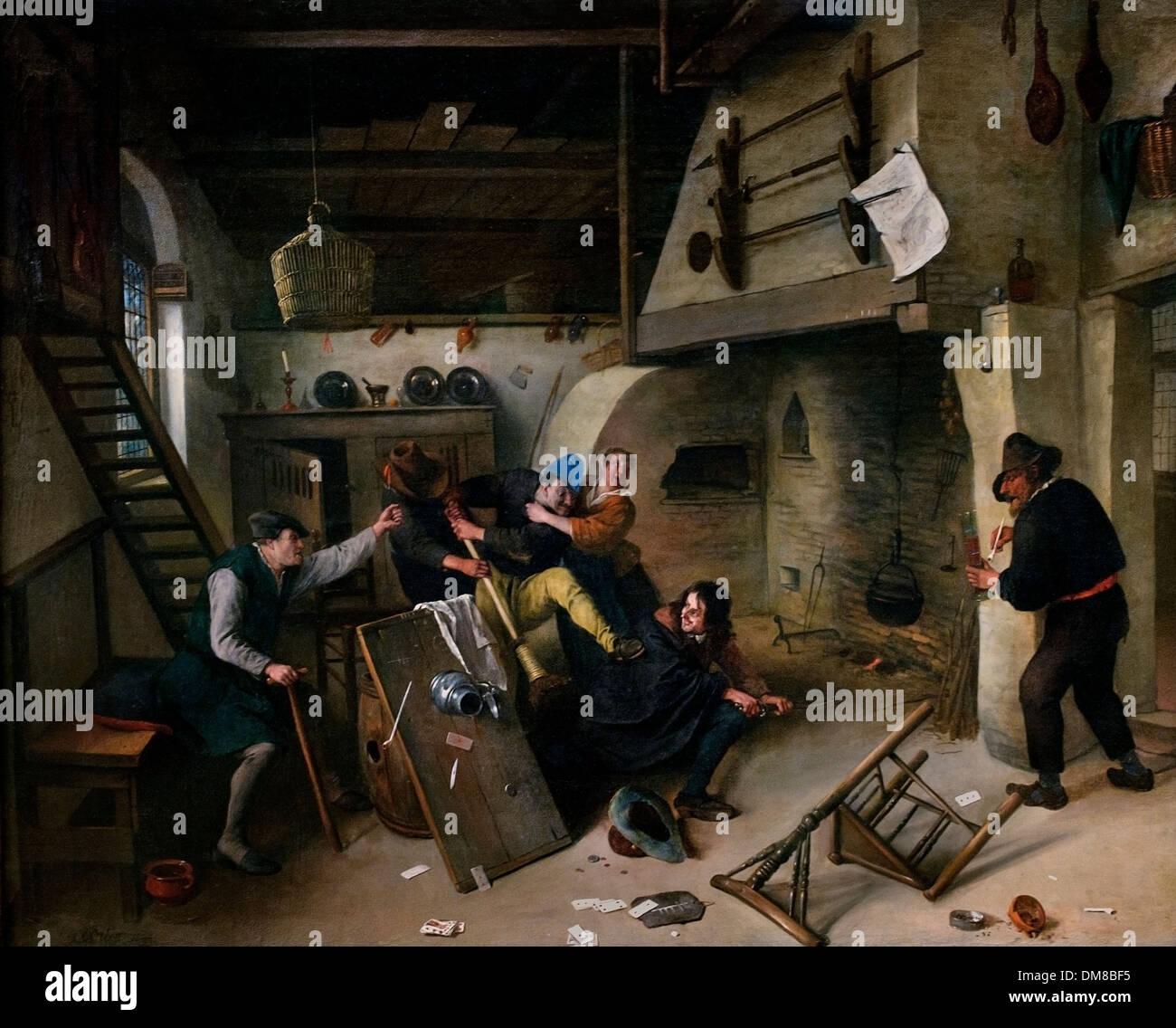 Fight between card players in a tavern Jan Havicksz Steen 1626 - 1679  Dutch Netherlands - Stock Image