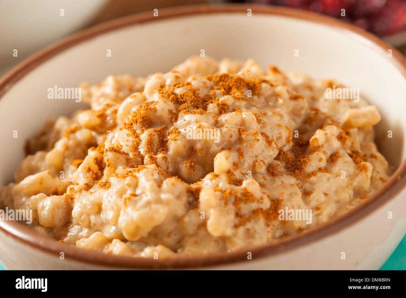 Homemade Healthy Rice Pudding with Brown Cinnamon - Stock Image