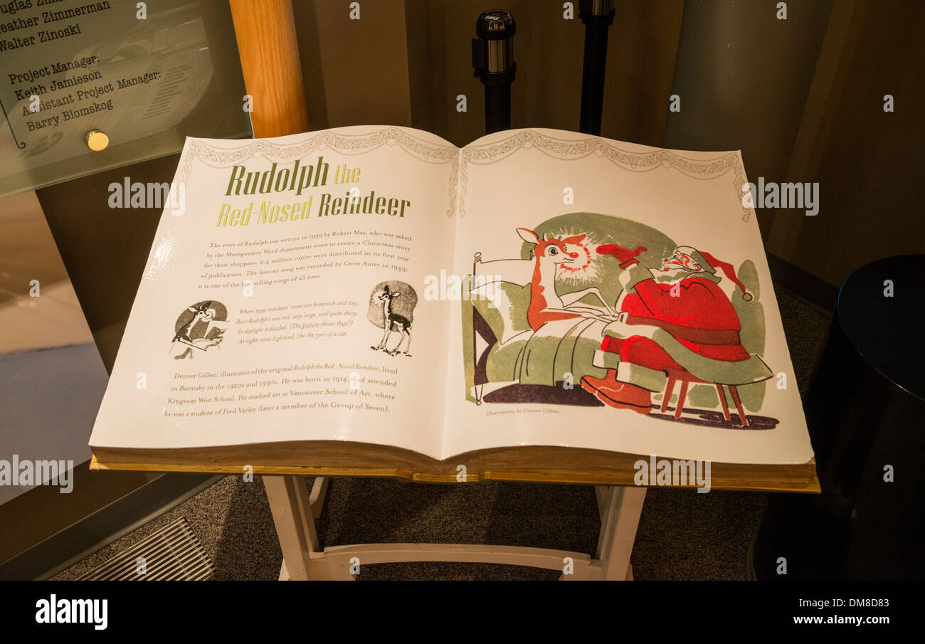 Rudolph the red nosed reindeer book, Burnaby Village Museum, Burnaby, British Columbia, Canada - Stock Image