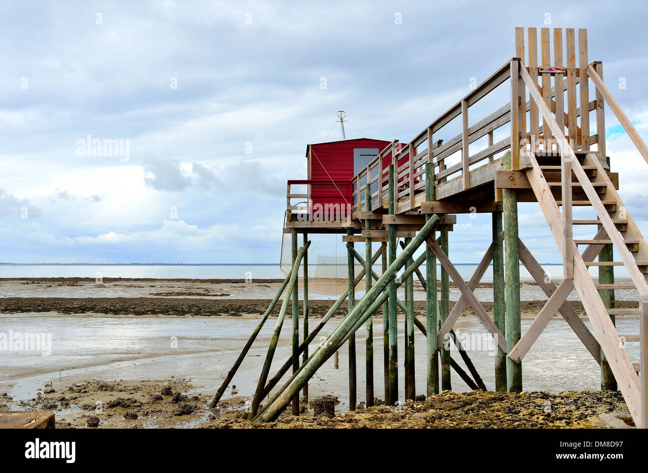 Carrelet on the isle of Ile Madame,repaired after the flood, Charente Maritime, Atlantic coast, France Stock Photo