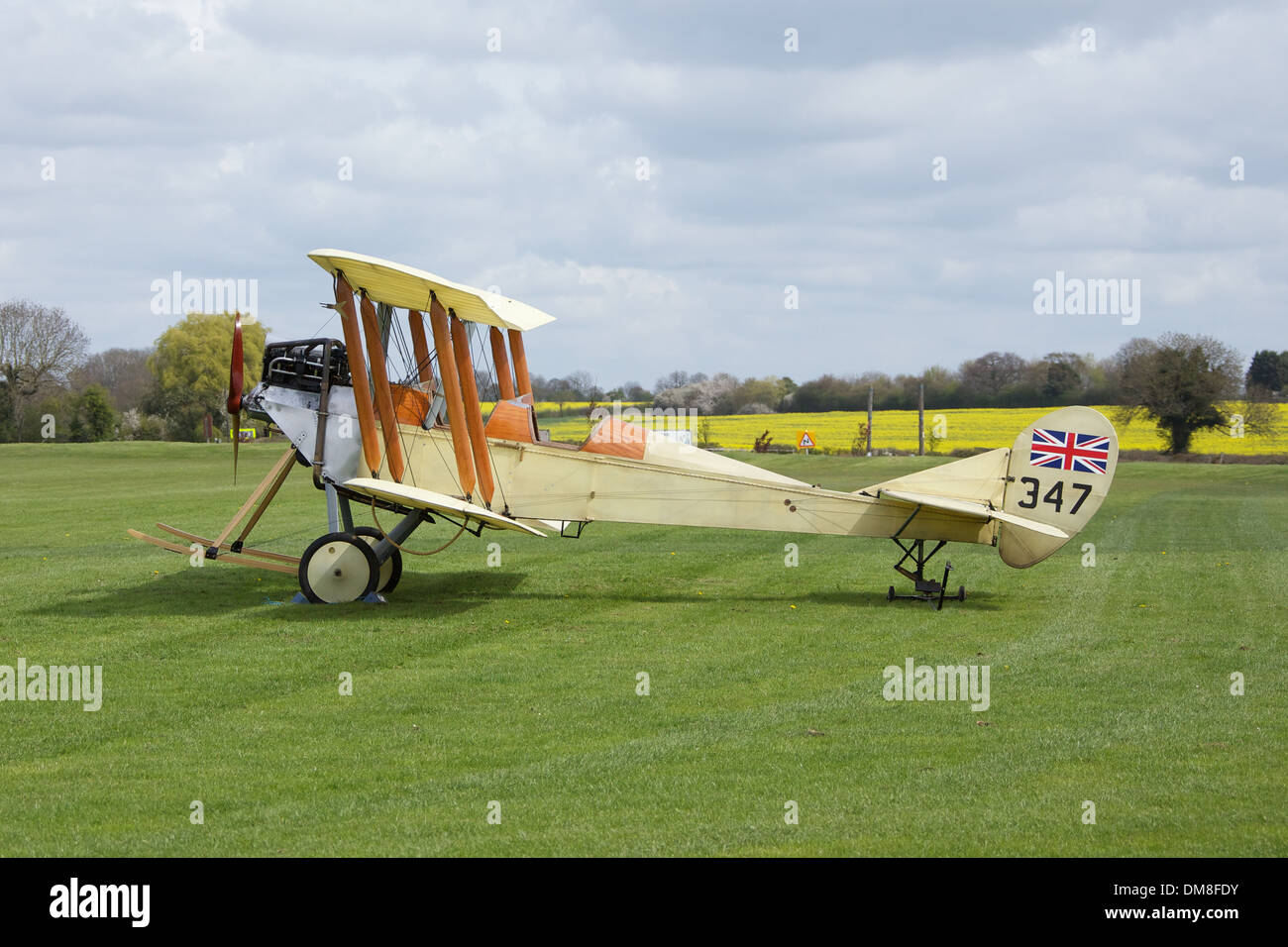 Replica Royal Aircraft Establishment BE-2C at Sywell Airfield 14th April 2012. Built in 1969 by Charles Bottington for a film. - Stock Image