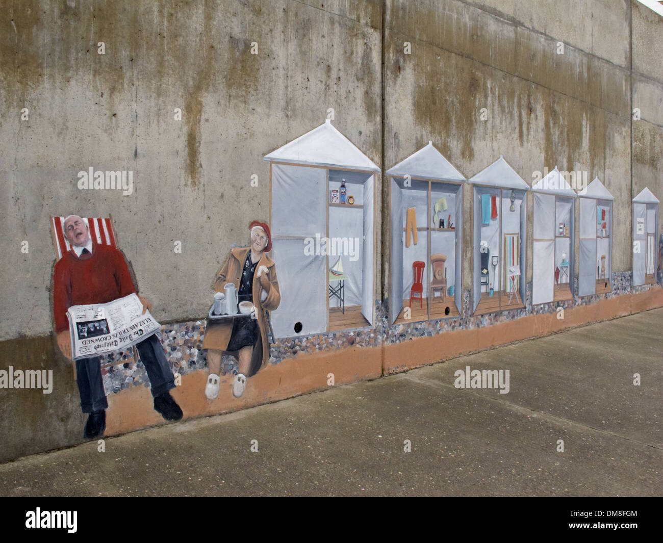 Sea wall art at Sheringham North Norfolk England. & Sea wall art at Sheringham North Norfolk England Stock Photo ...