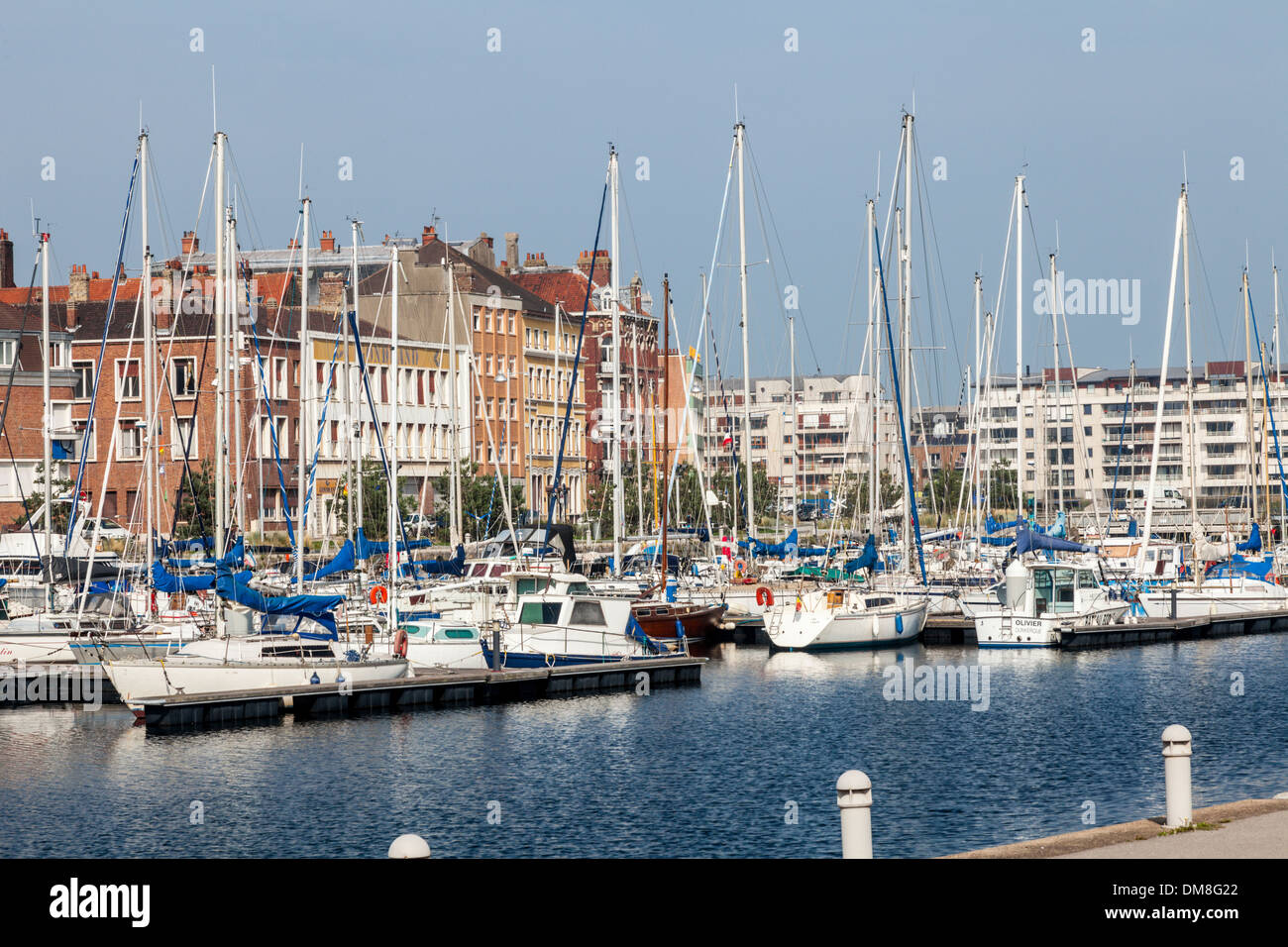 Harbour with boats at Dunkirk, Dunkirque, France - Stock Image