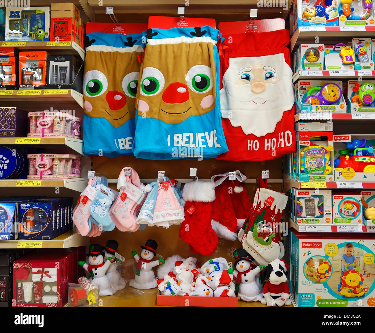 Christmas gifts in a uk supermarket - Stock Image