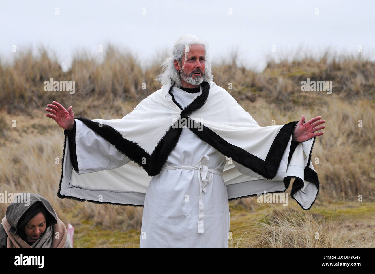 an actor plays St.Piran the patron saint of tin miners during the annual celebrations on St.Pirans day in Cornwall, - Stock Image