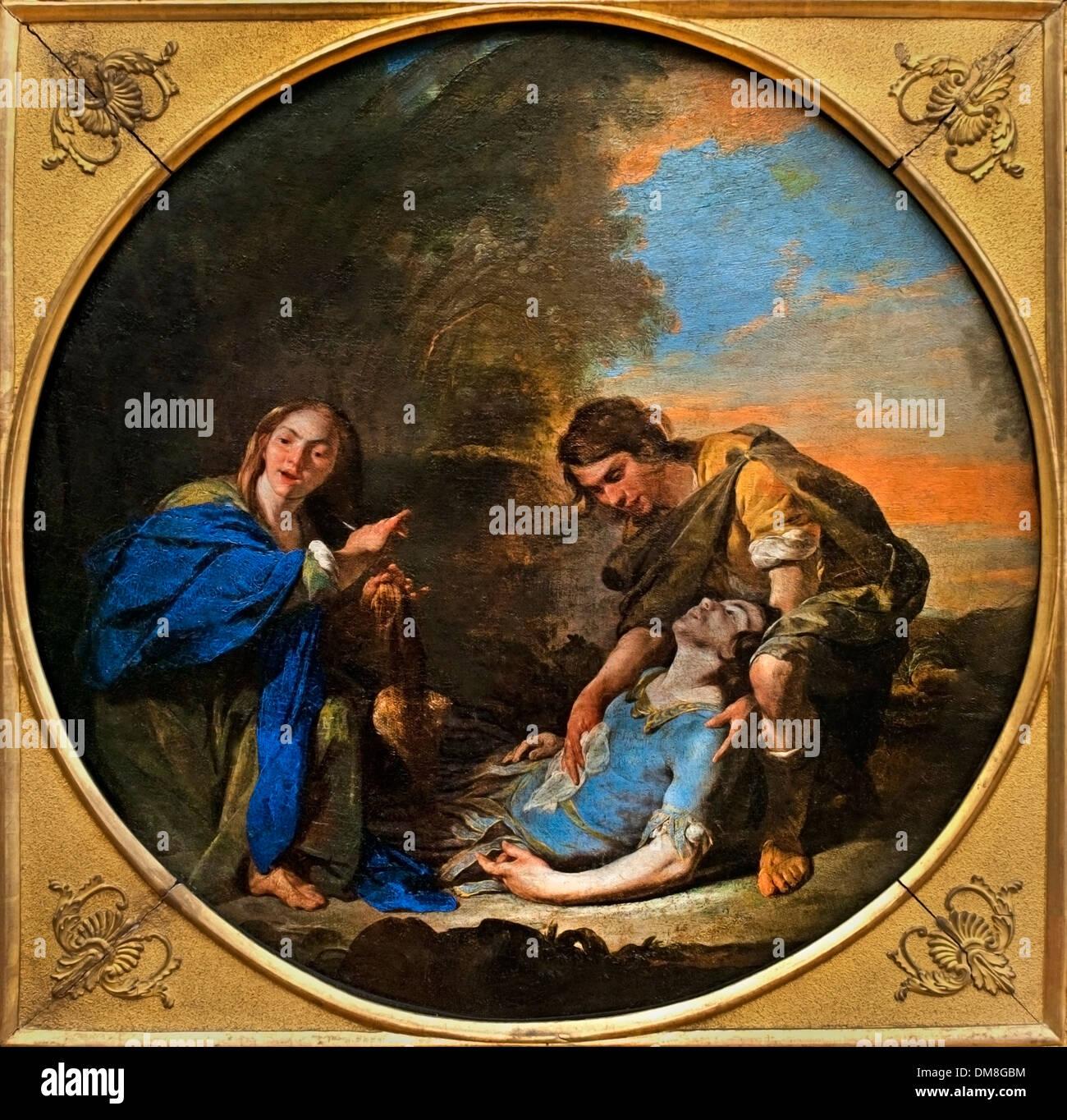 Erminia  and Tancred Bernardo Cavallino (1616-1656) Italy Italian - Stock Image