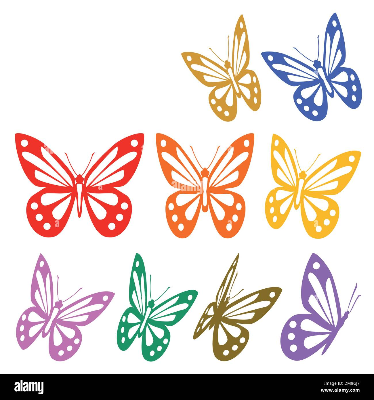 Set Of Colorful Butterflies Silhouettes Vector Graphic Stock