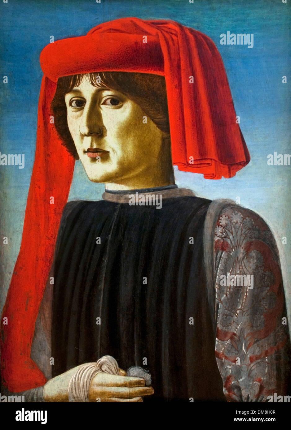 Young Man ( Ritratto di Giovane ) Florentine School 1450 - 1460 Italy Italian - Stock Image