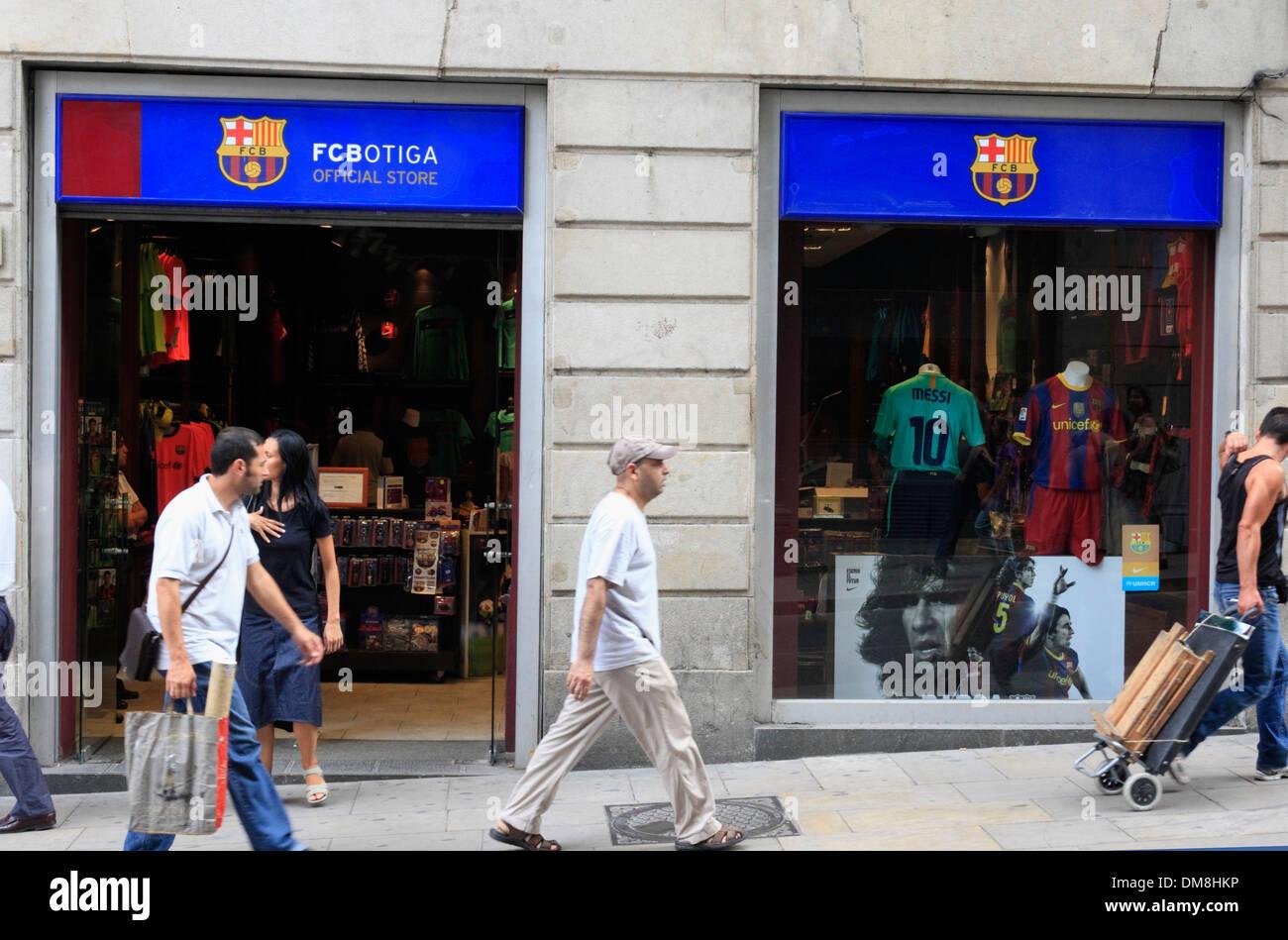 Shop of FC Barcelona at Ramblas, Barcelona, Spain, Europe - Stock Image