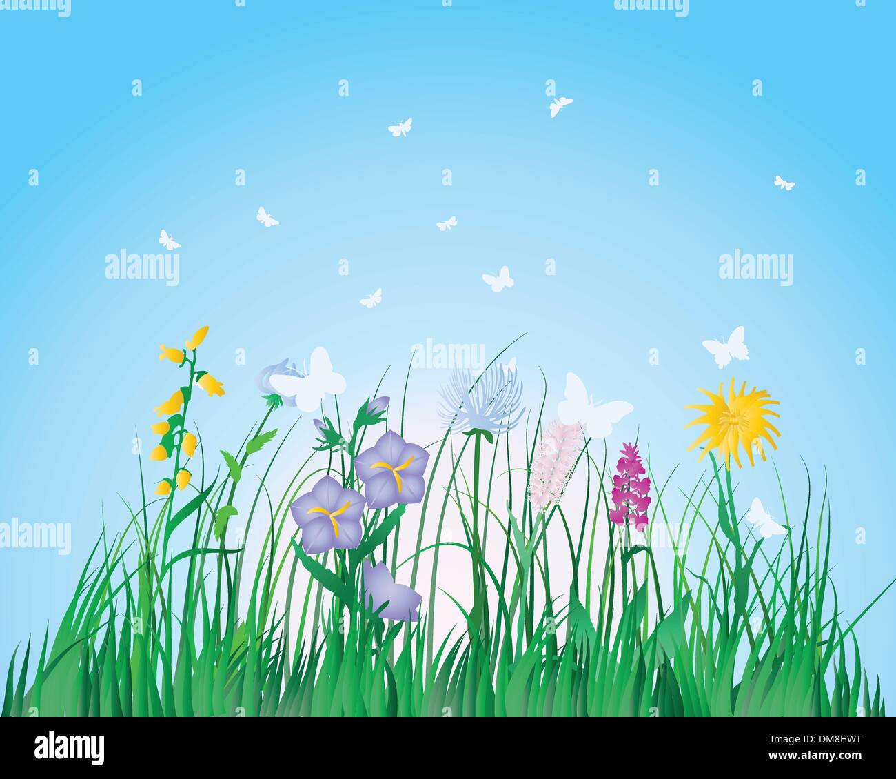 meadow silhouettes Stock Vector