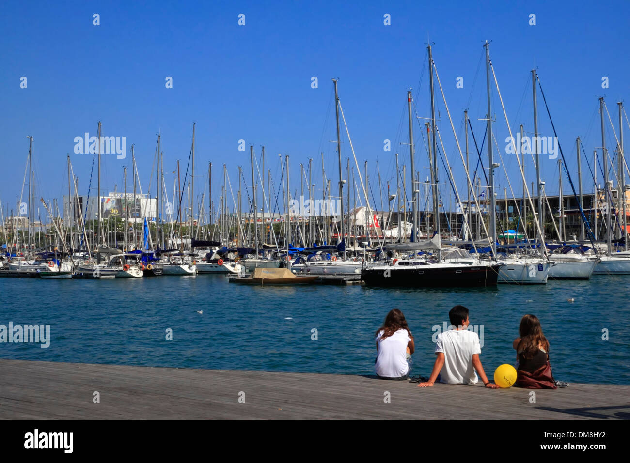 Sailing boats at Port Vell, Barcelona, Spain, Europe - Stock Image