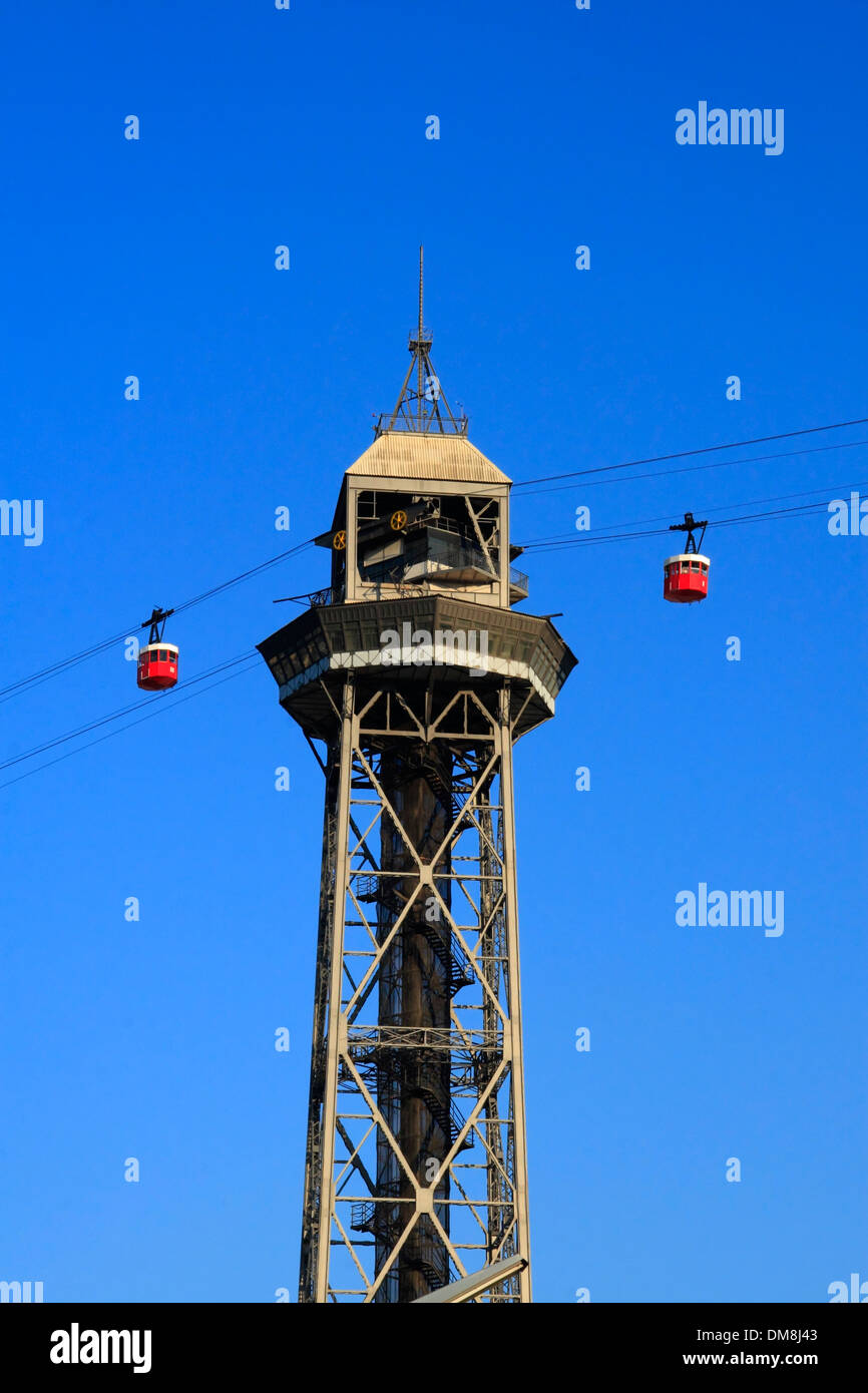 Cable car from Barcelona harbor to Montjuic hill, Barcelona, Spain, Europe - Stock Image