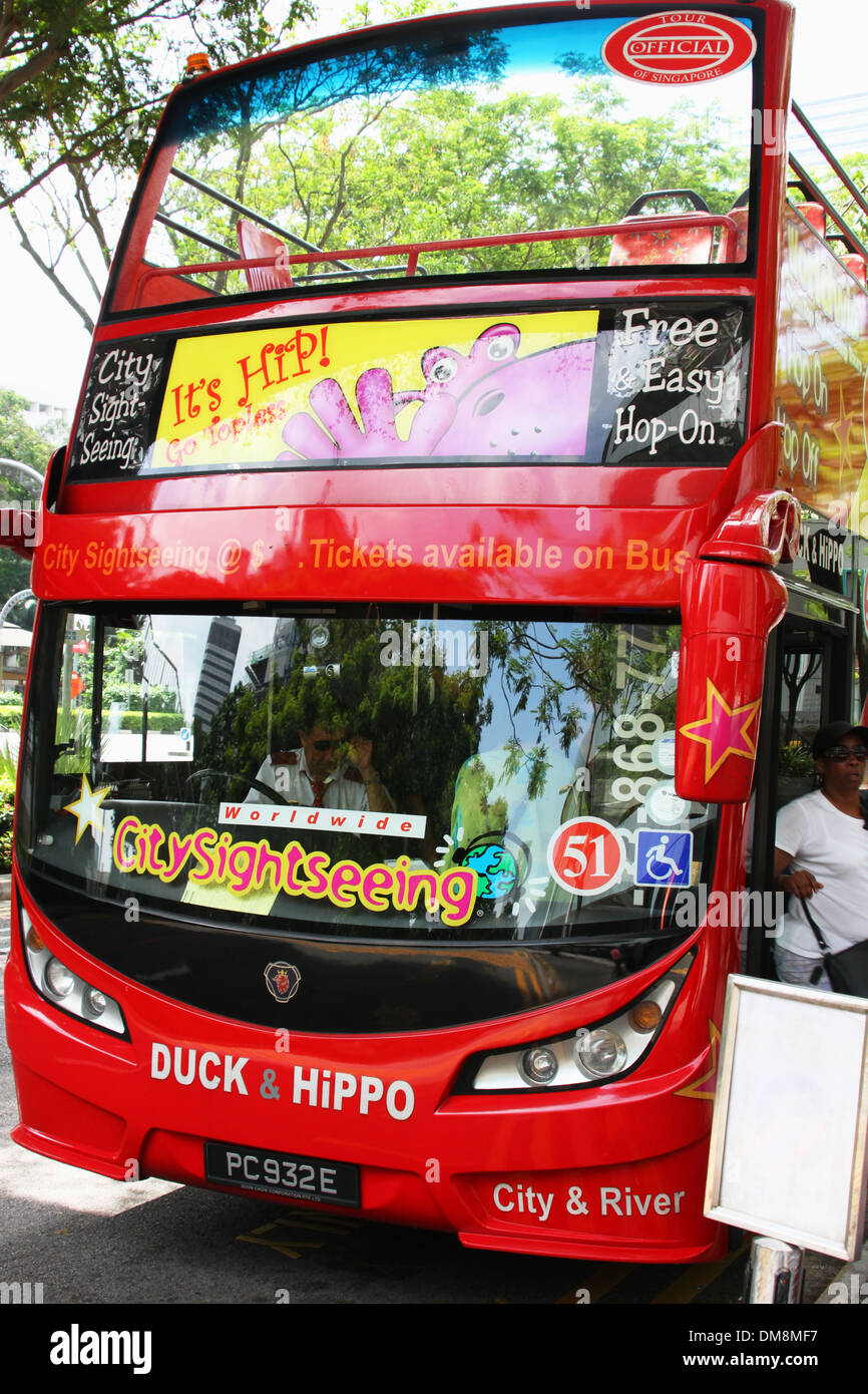 HiPPO Tour Bus. Singapore. Sightseeing by doubledecker bus. - Stock Image