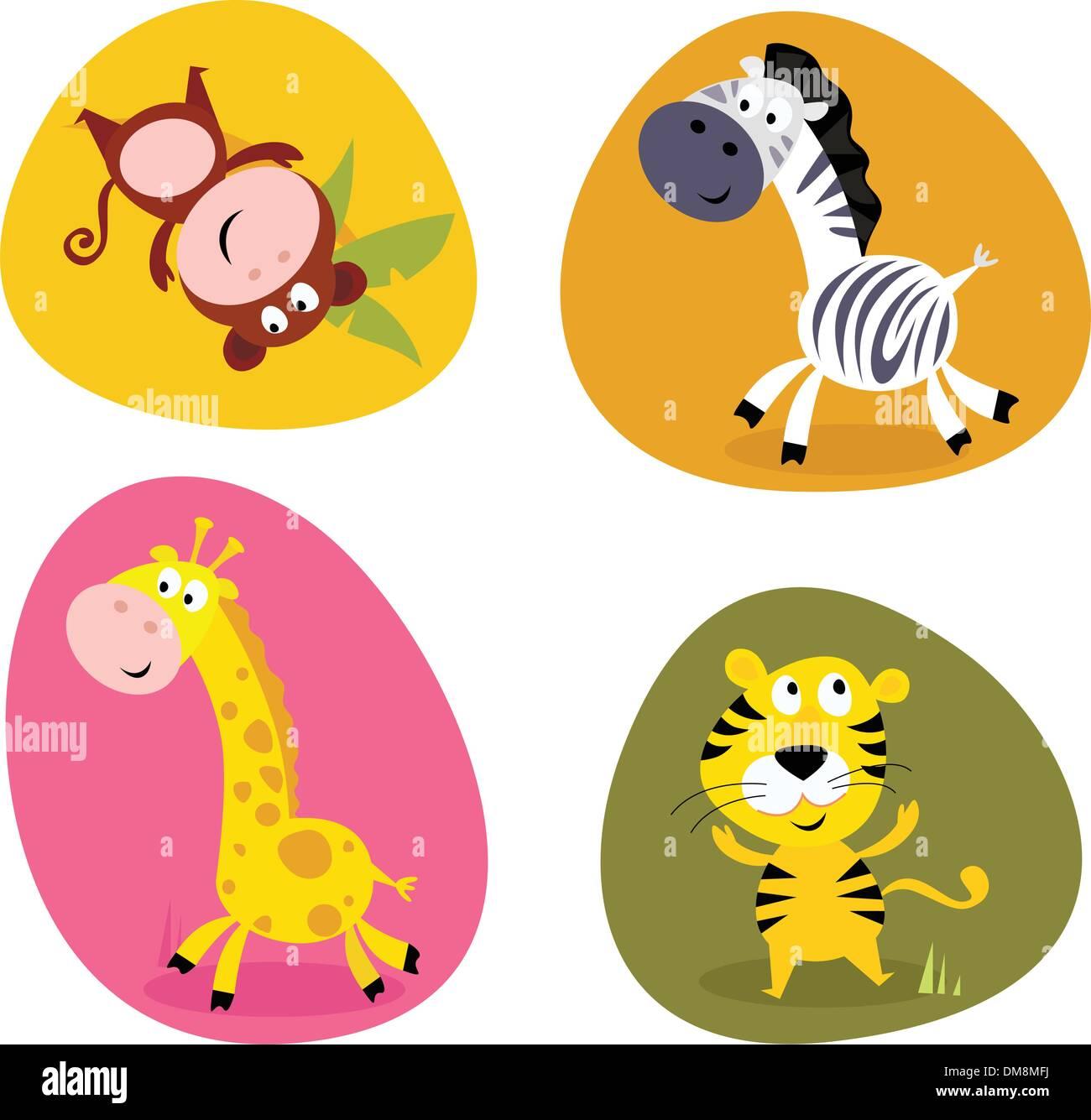 Illustration set of cute safari animals: monkey, tiger, giraffe and zebra Stock Vector