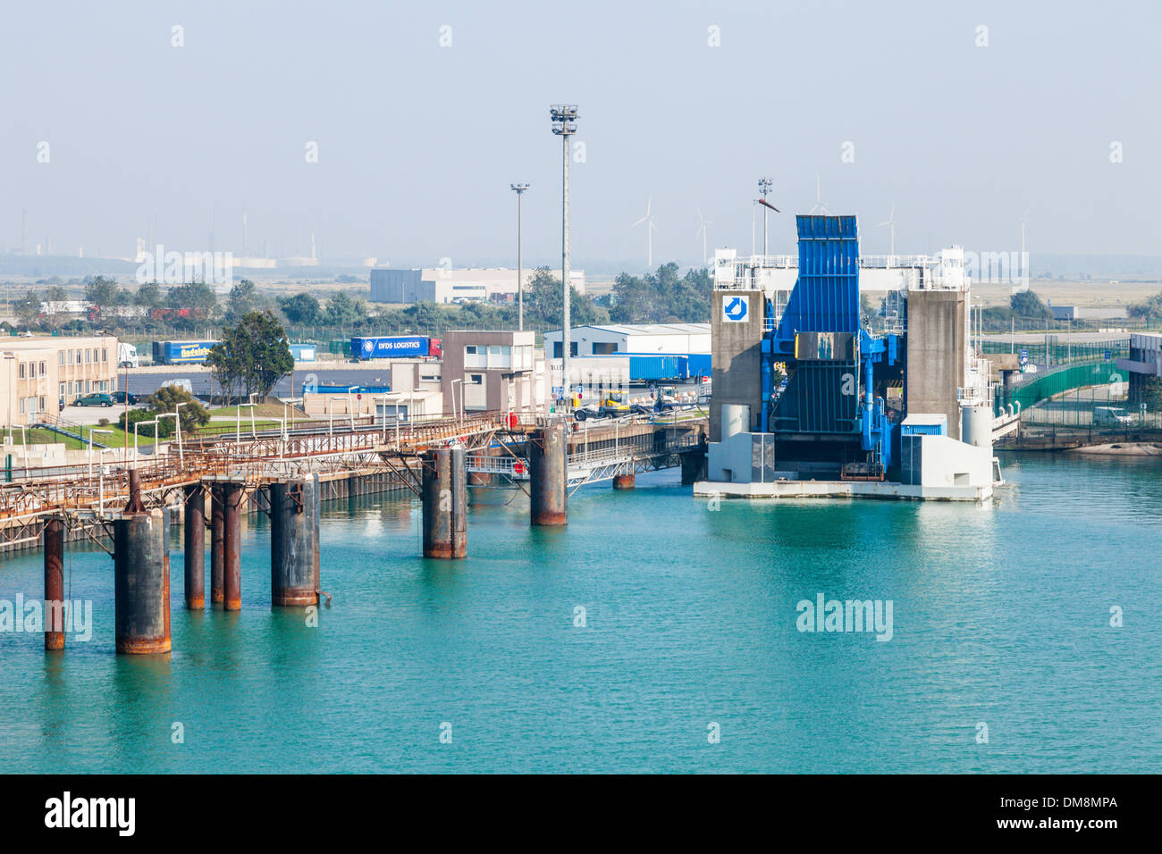 Empty ferry births at the port of Dunkirk, France. Stock Photo
