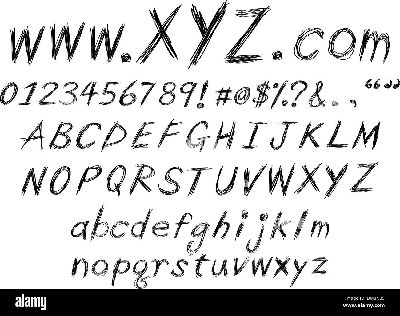 sketch alphabet - Stock Image