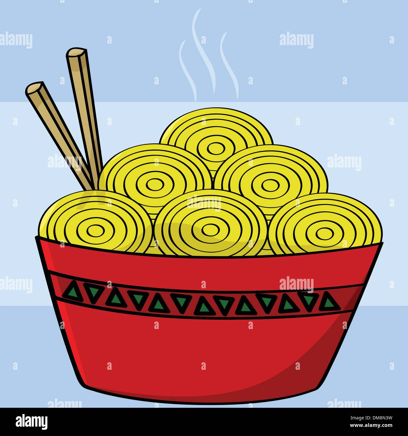 Bowl of noodles - Stock Vector