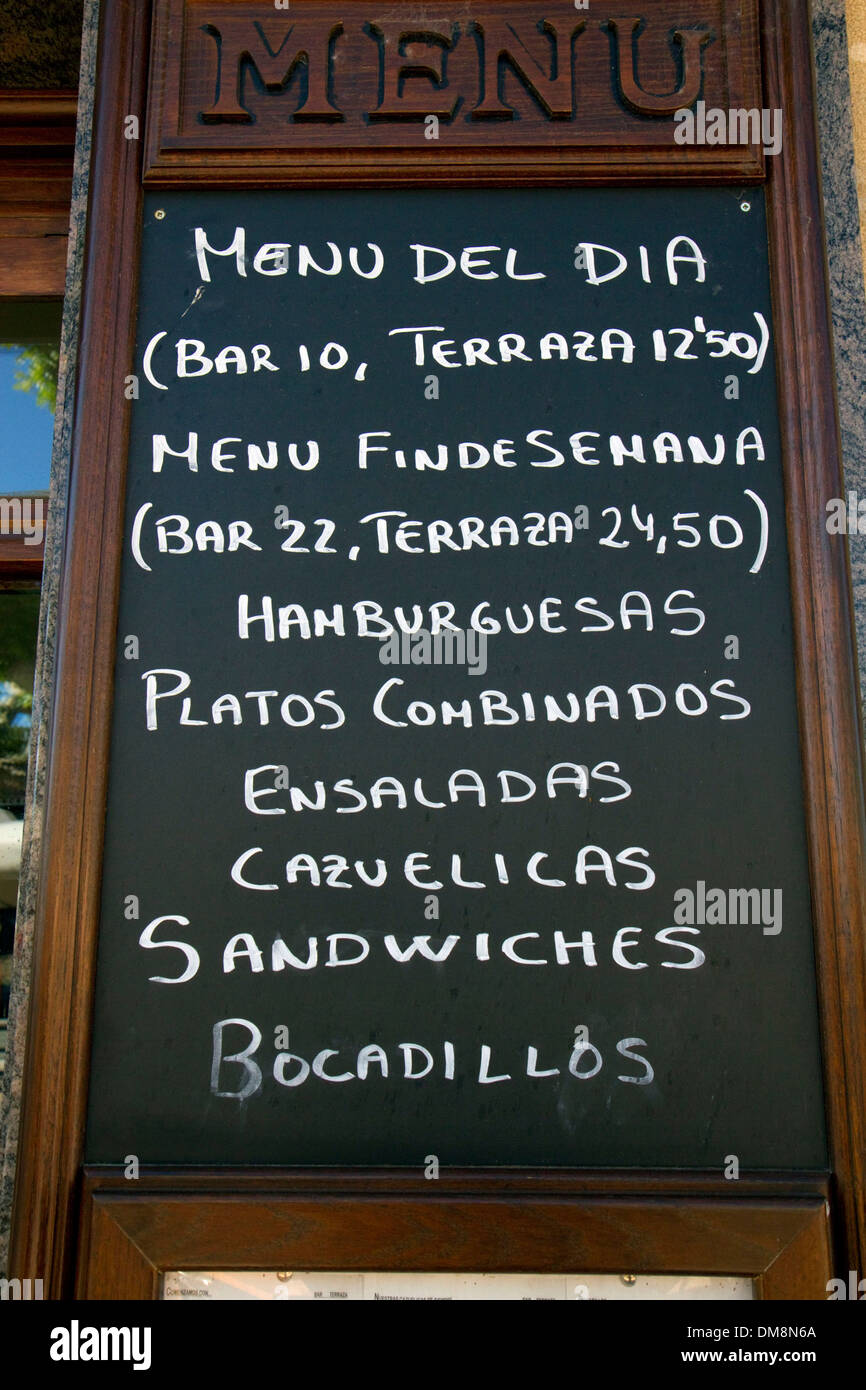 Spanish Language Menu Stock Photos Spanish Language Menu