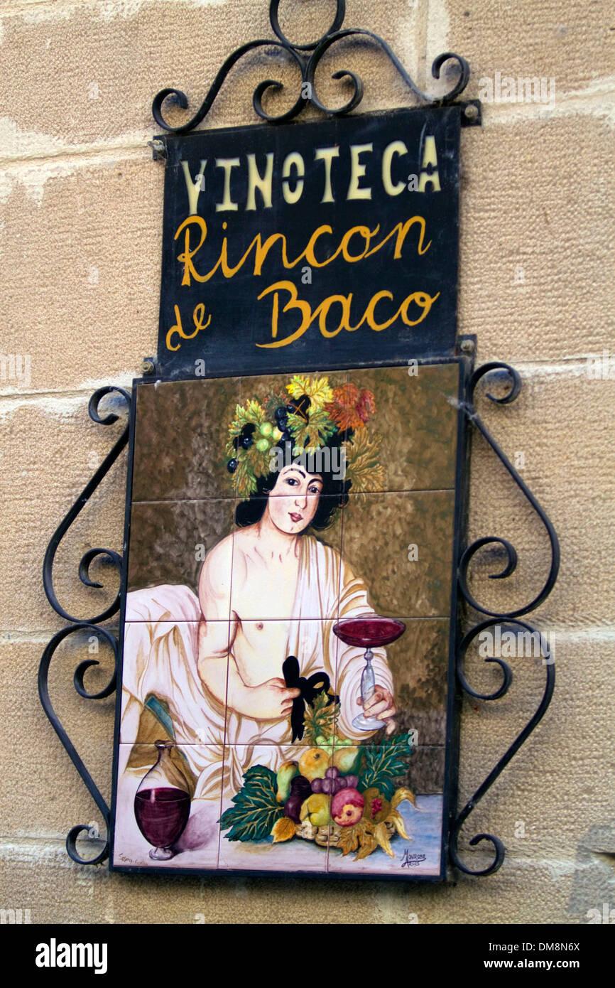 Wine bar at Puente La Reina a Basque town along the Way of St. James pilgrimage route, Navarra, Spain. - Stock Image