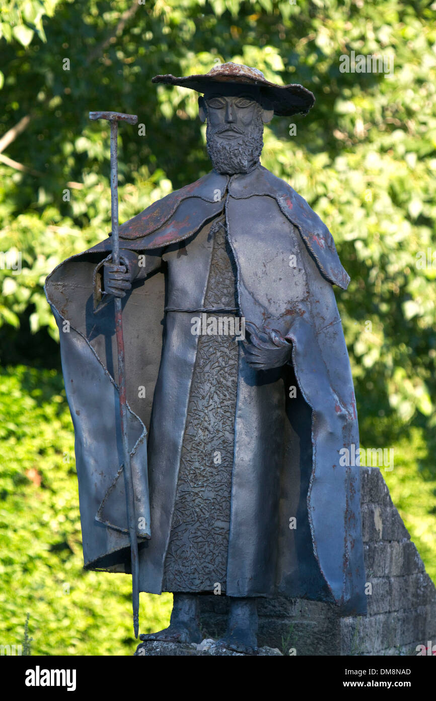 A statue of St. James along the Way of St. James pilgrimage route, Navarra, Spain. - Stock Image