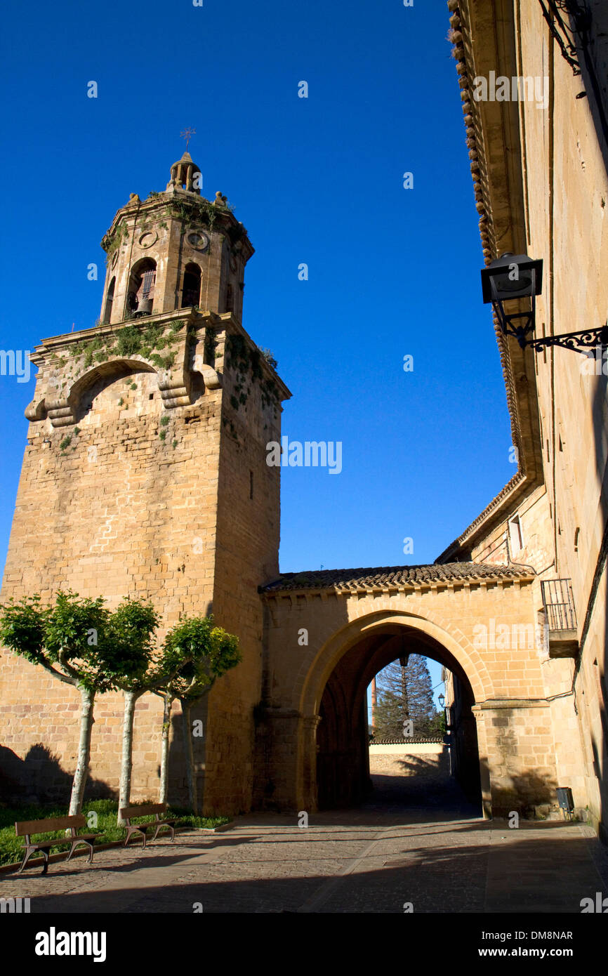 Tower of the Church of Santiago el Mayor at Puente La Reina a Basque town along the Way of St. James pilgrimage, Navarra, Spain. - Stock Image