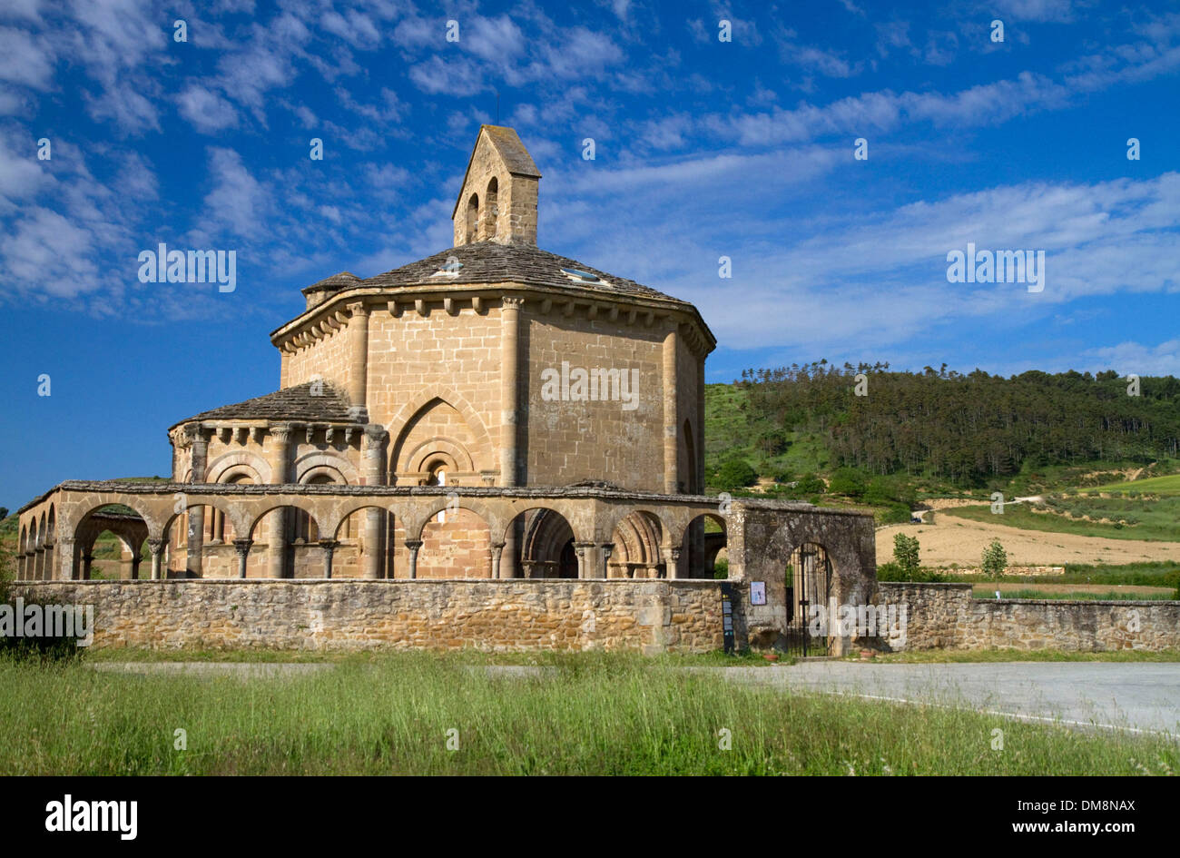 Church of Saint Mary of Eunate along the Camino De Santiago, the Way of St. James pilgrimage route, Navarra, Spain. - Stock Image