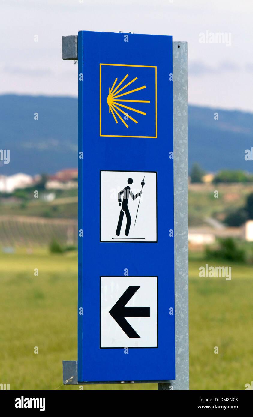 Marker along the Camino De Santiago, the Way of St. James pilgrimage route, Navarra, Spain. - Stock Image