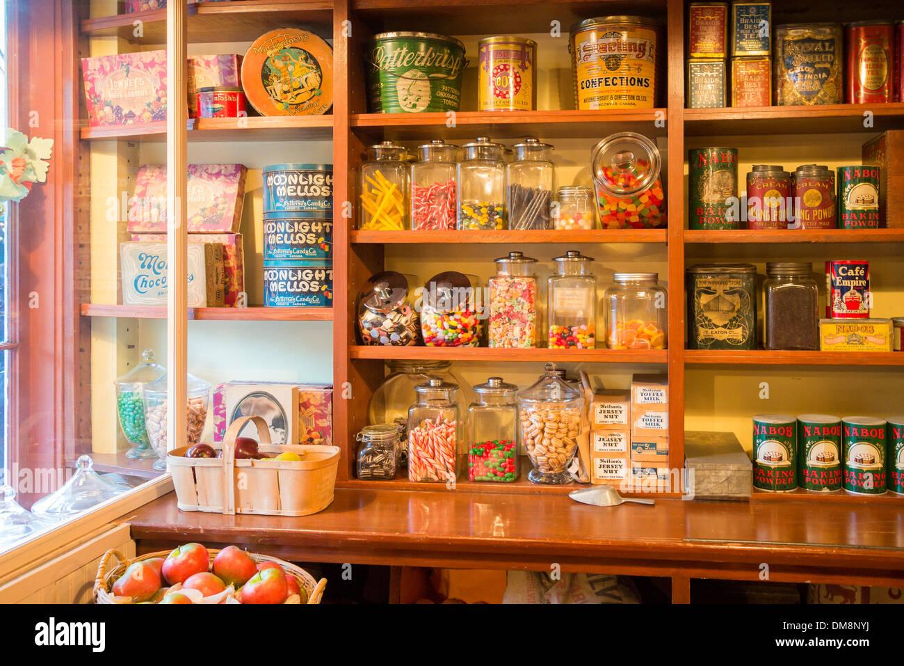 Shelves, General Store, Burnaby Village Museum, Burnaby, British Columbia, Canada - Stock Image