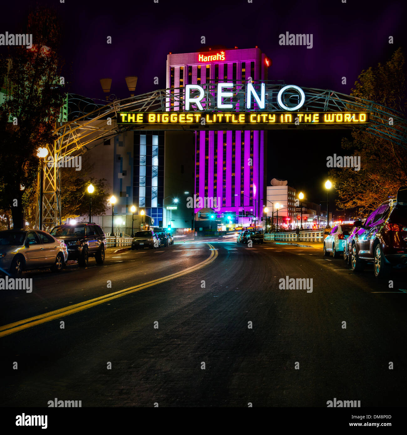A night view of the old Reno sign  on 4th street in downtown Reno Nevada - Stock Image