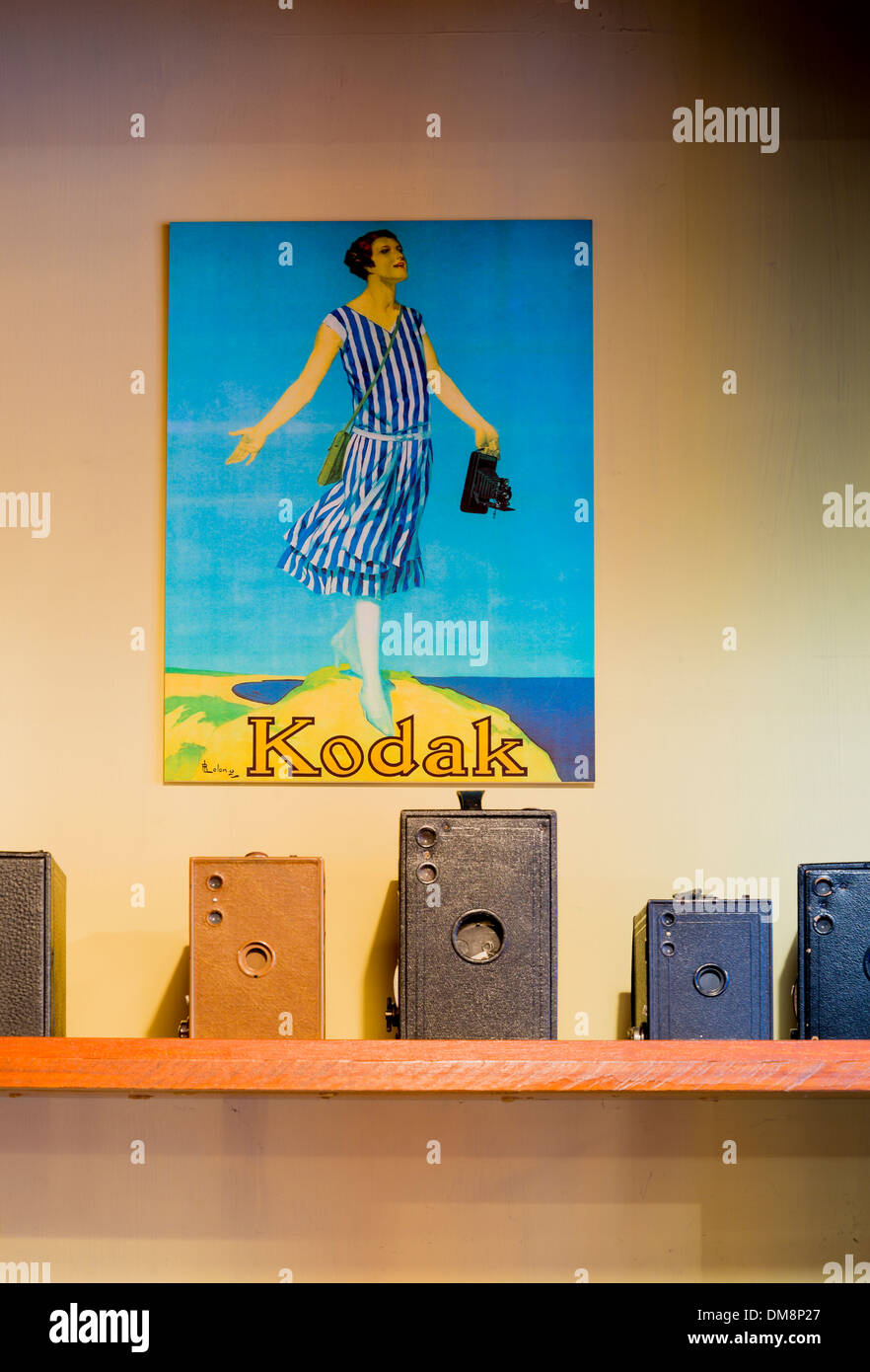 Kodak poster and cameras, Burnaby Village Museum, Burnaby, British Columbia, Canada - Stock Image