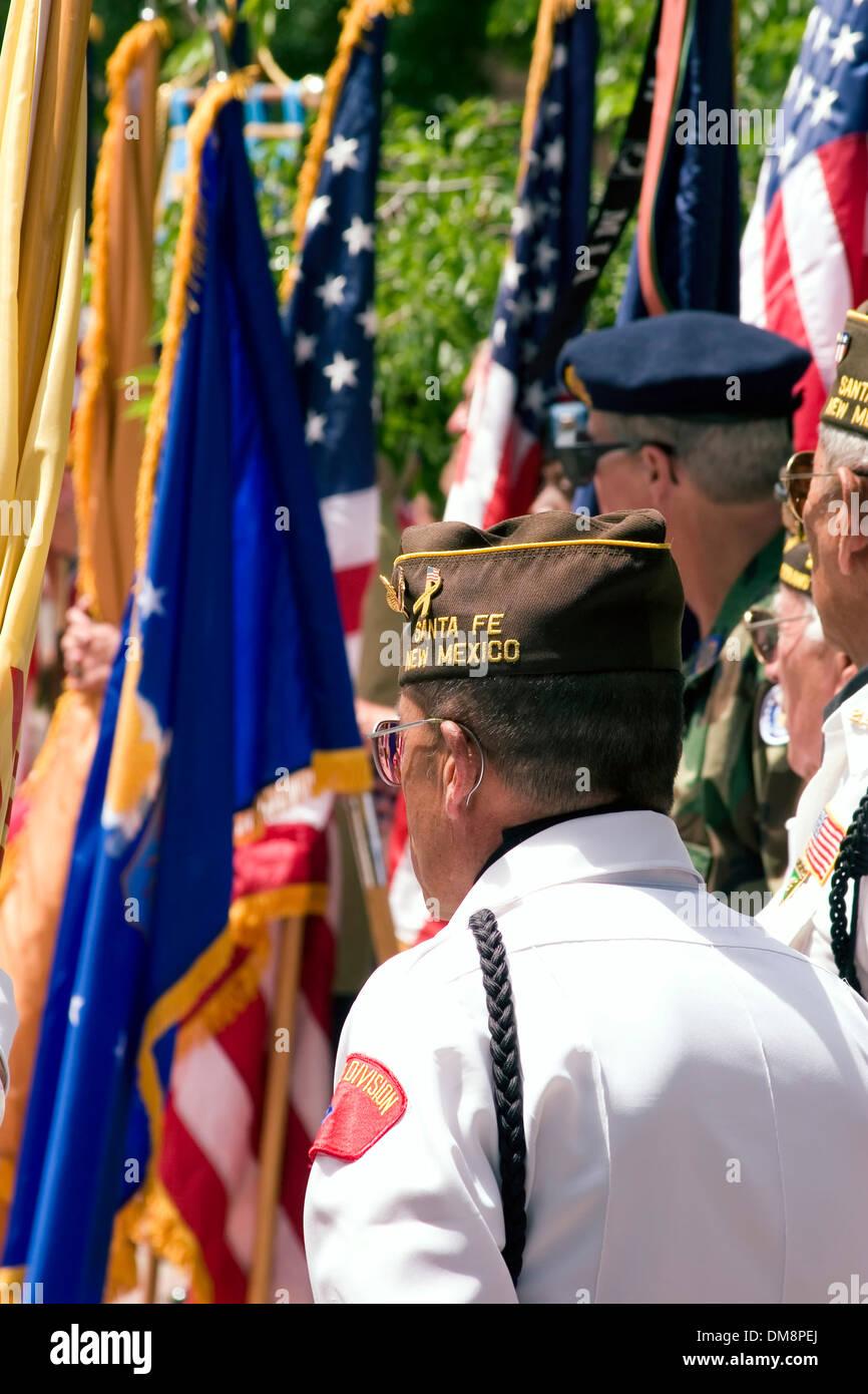 VFW contingent, Flag Day Ceremonies, Santa Fe Plaza, New Mexico USA Stock Photo