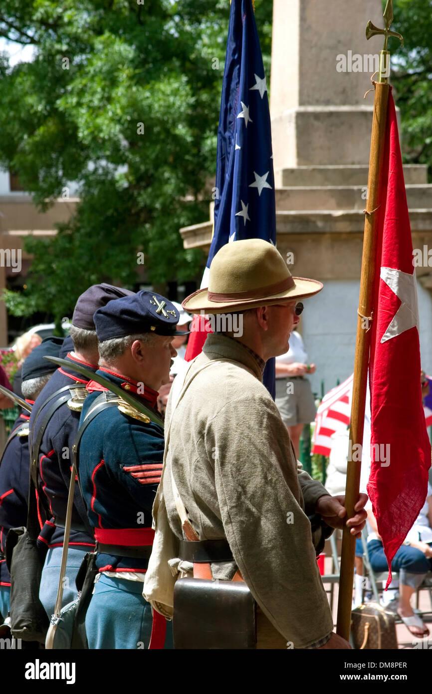 Civil War contingent, Flag Day Ceremonies, Santa Fe Plaza, New Mexico USA - Stock Image