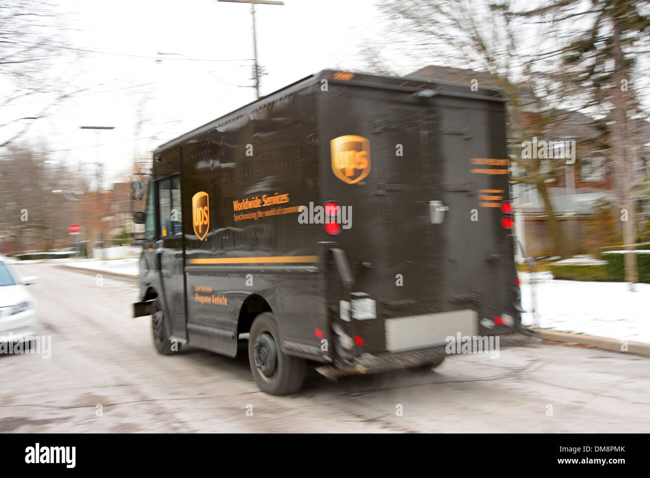 UPS truck in Toronto, Canada - Stock Image