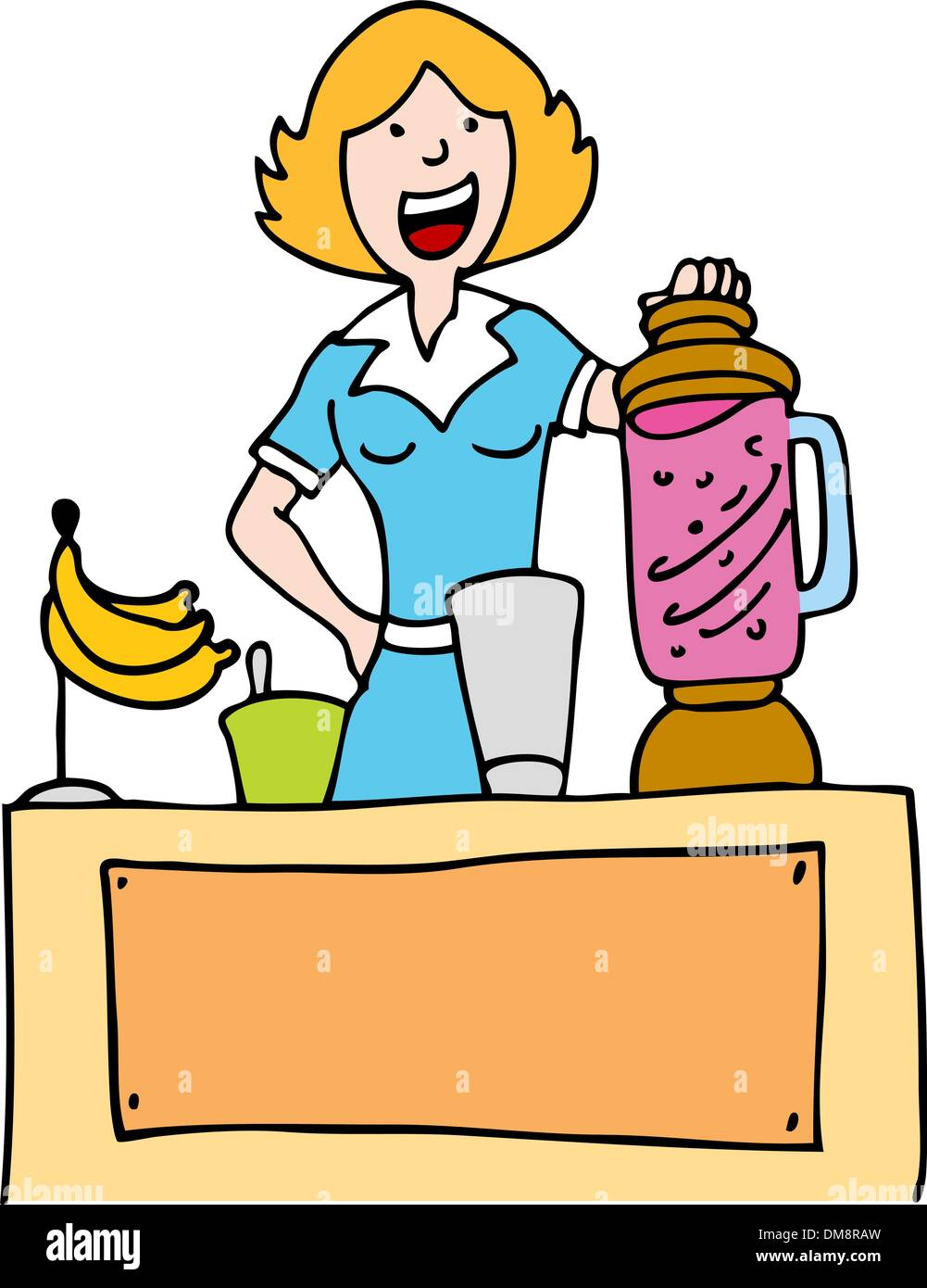 Woman Making a Banana Smoothie Stock Vector