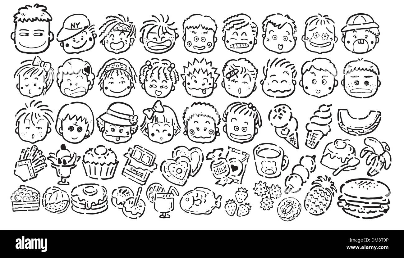 Cartoon face and foodstuff icons in black and white - Stock Image