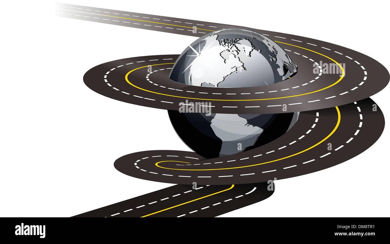 Spiral road concept illustration - Stock Image