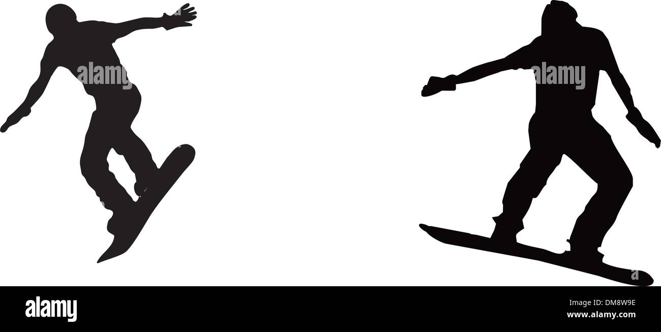 set of snowboarding people - Stock Vector